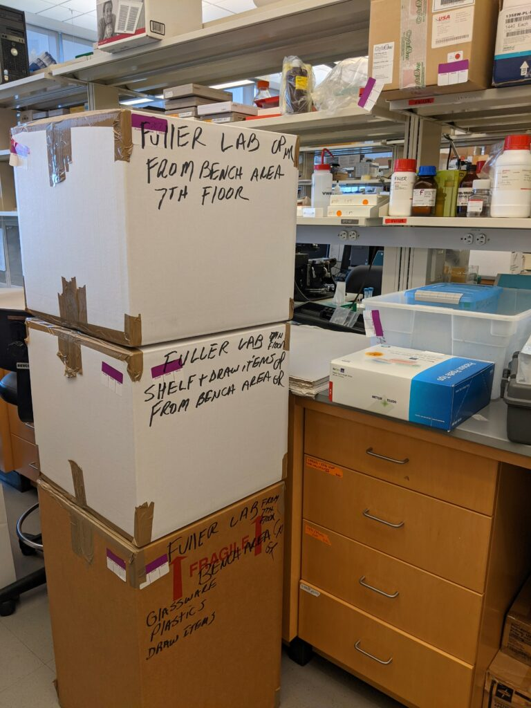 photo of the lab move of Dr. Patrick Fuller's sleep study lab from Beth Israel Deaconess Medical Center to UC-Davis.